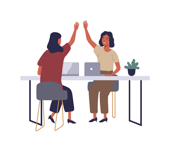An illustration of two people giving each other a high five